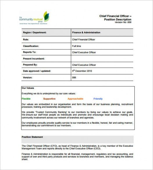 Printable Official Job Description Template Excel Sample