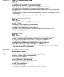 Professional Bartender Job Description Template Word Example
