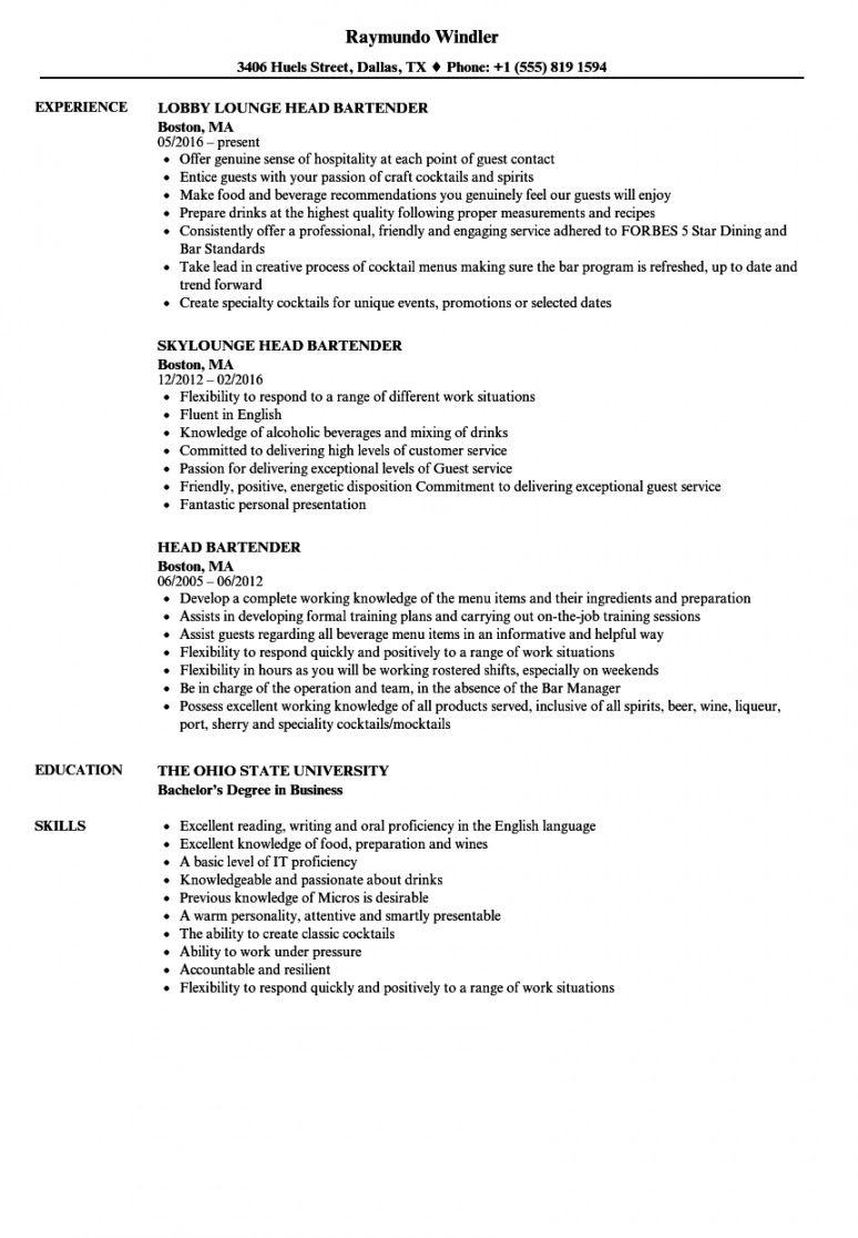 Professional Bartender Job Description Template Word Example