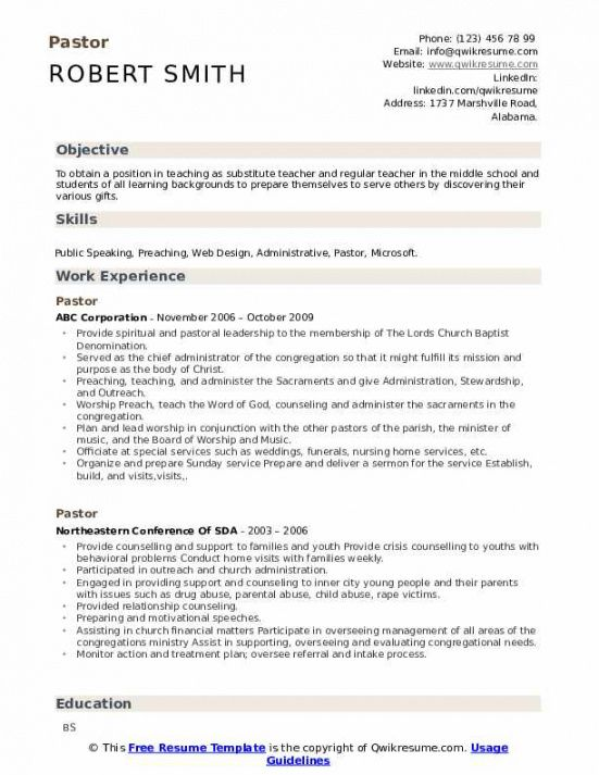 Professional Ministry Job Description Template Word Sample