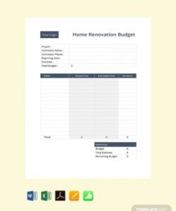 Best Home Renovation Budget Template Word Example