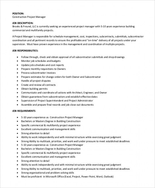 Best Project Manager Job Description Template Free Doc Example