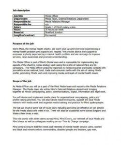 Church Volunteer Job Description Template Word