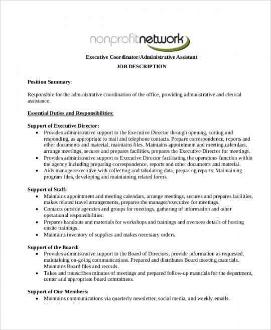 Costum Executive Administrative Assistant Job Description Template Pdf Sample