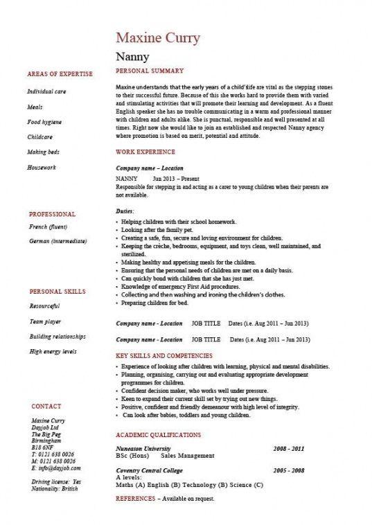 Costum Nanny Job Description Template Word Sample