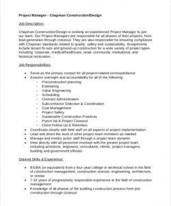 Costum Project Manager Job Description Template Free Pdf