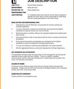 Costum Shop Manager Job Description Template  Sample