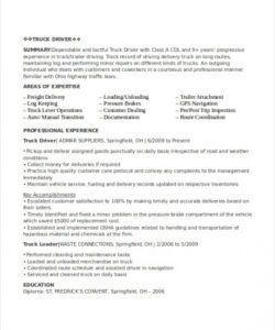 Driver Job Description Template Word