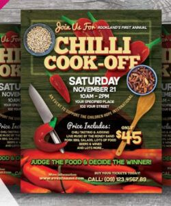 Editable Chili Cook Off Flyer Template Word Example