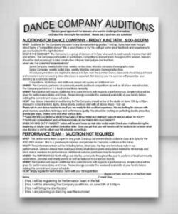 Editable Dance Audition Flyer Template  Sample