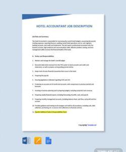 Editable Hospitality Job Description Template Excel