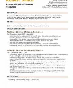 Editable Human Resources Assistant Job Description Template Word Example