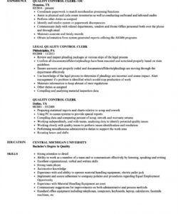 Editable Quality Control Job Description Template Word Example