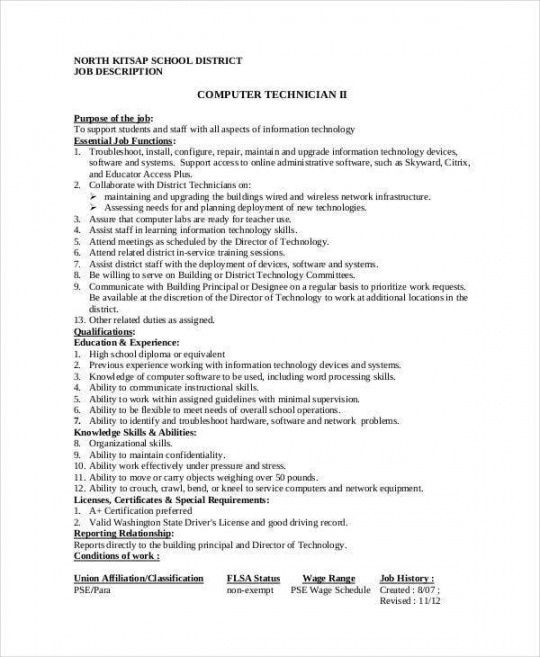 Editable Trainee Job Description Template Doc Example