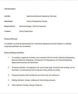Editable Trainee Job Description Template Pdf