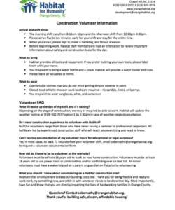 Free Church Volunteer Job Description Template Pdf