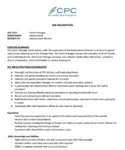 Free Church Volunteer Job Description Template  Sample