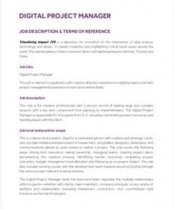 Free Project Manager Job Description Template Free Pdf Example