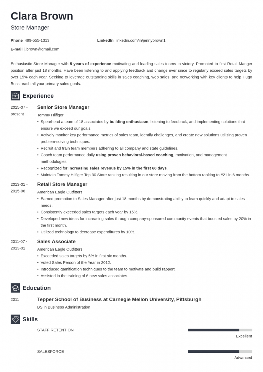 Free Shop Manager Job Description Template Excel Sample