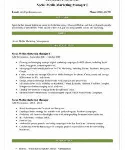 Free Social Media Manager Job Description Template Excel Sample