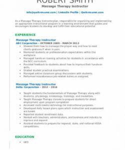Massage Therapist Job Description Template Doc