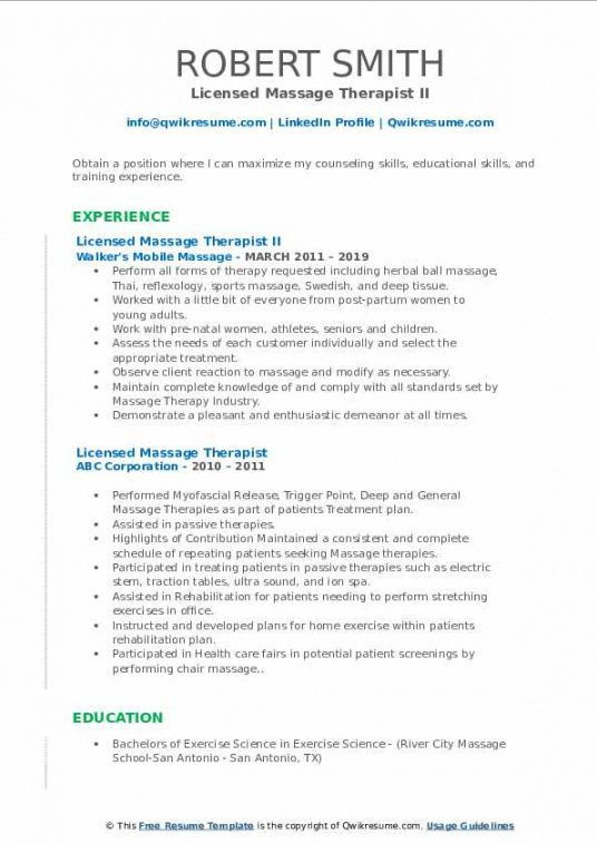 Massage Therapist Job Description Template Excel