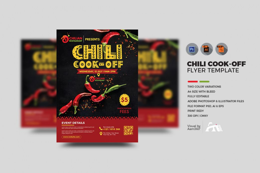 Printable Chili Cook Off Flyer Template  Example