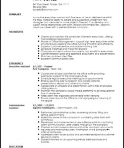 Printable Executive Administrative Assistant Job Description Template Doc