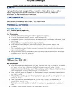 Printable Hospitality Job Description Template Pdf Example