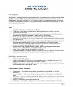Printable Marketing Assistant Job Description Template Doc Example
