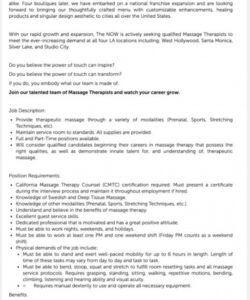 Printable Massage Therapist Job Description Template Doc Sample