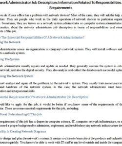 Printable Network Administrator Job Description Template Doc Sample