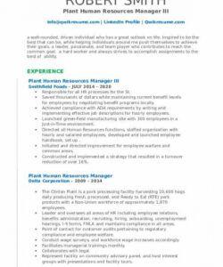 Printable Plant Manager Job Description Template Excel Example