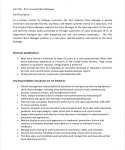 Printable Shop Manager Job Description Template Word