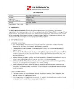 Printable Social Media Manager Job Description Template Doc