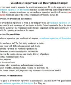 Printable Supervisor Job Description Template  Example