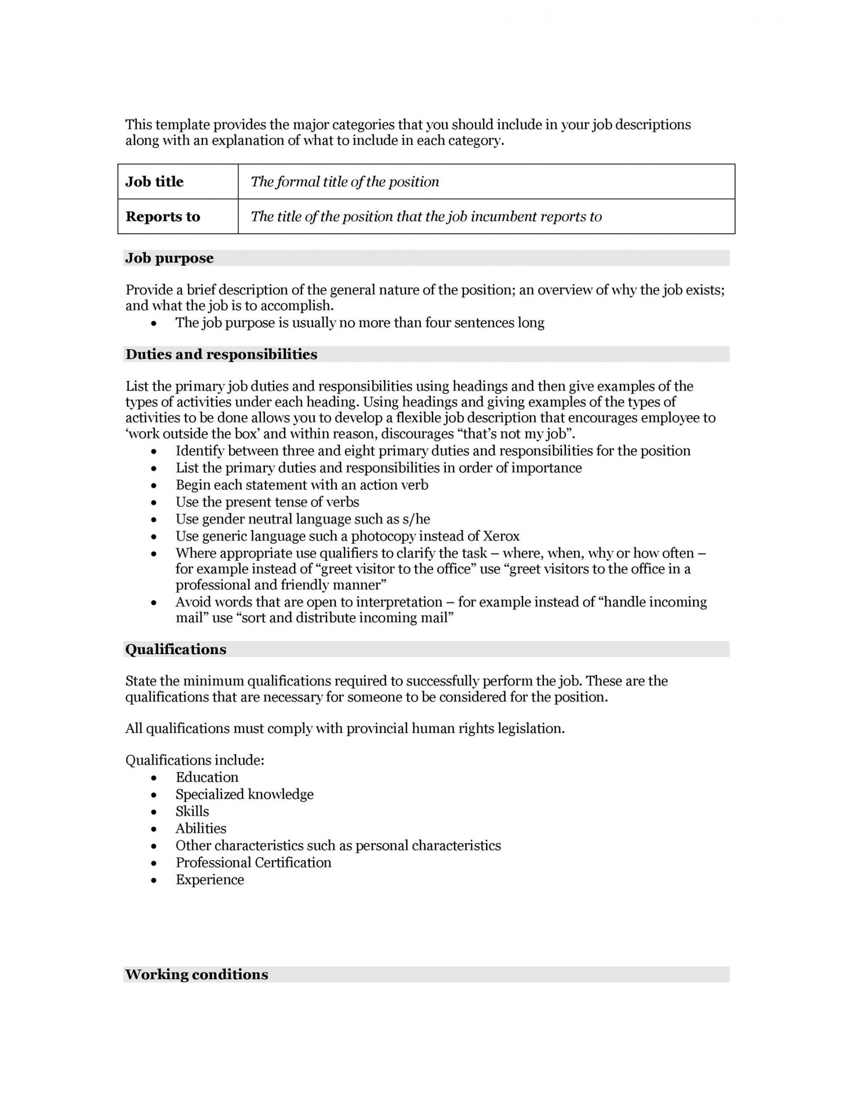 Professional Competency Based Job Description Template Word Sample