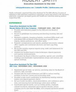 Professional Executive Administrative Assistant Job Description Template Excel Example