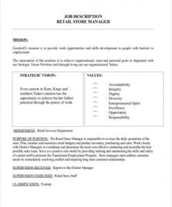 Shop Manager Job Description Template Word Sample