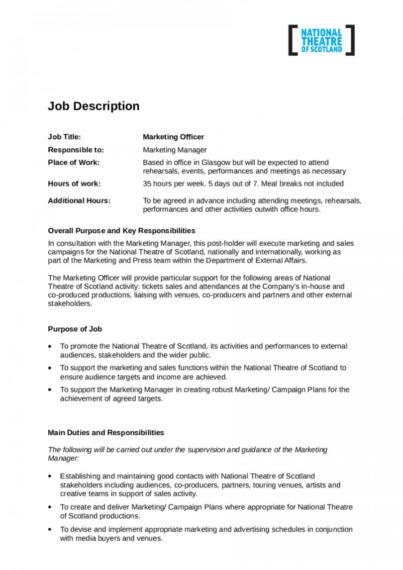 Supervisor Job Description Template Pdf Example