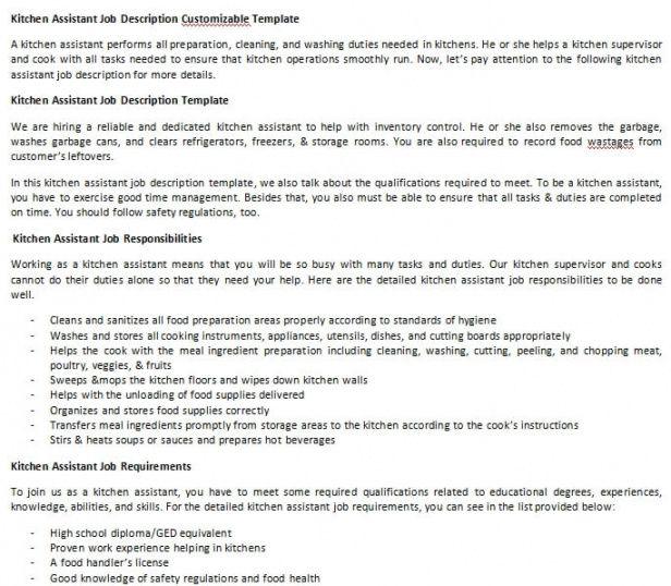 Costum Kitchen Staff Job Description Template Doc Sample