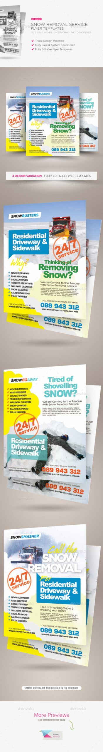Costum Snow Removal Flyer Template Word Sample