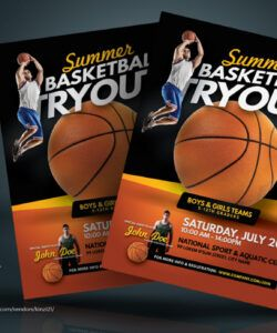 Editable Basketball Tryout Flyer Template Doc