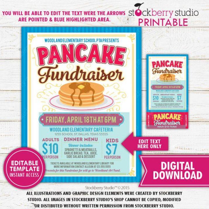 Pancake Breakfast Fundraiser Flyer Template Pdf Sample