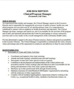 Practice Manager Job Description Template Word Sample