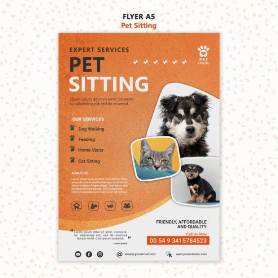 Printable Pet Sitting Flyer Template Doc Example