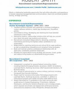 Printable Recruitment Consultant Job Description Template Pdf Example