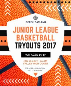Professional Basketball Tryout Flyer Template Pdf Sample
