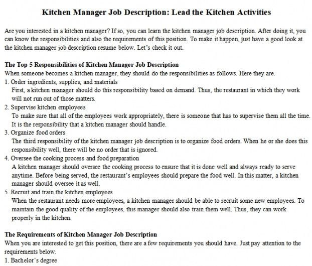Professional Kitchen Staff Job Description Template Doc