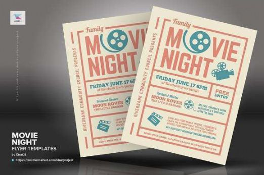 Best Family Movie Night Flyer Template  Sample